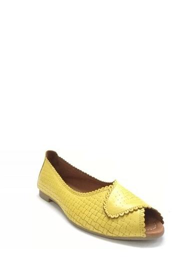 Ballerins Hakiki Deri El Yapımı Sarı Babet Blrs-141 Sarı